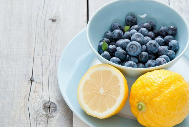 blueberry bowl and lemon